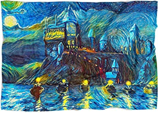 Westlake Art - Fleece Throw Blanket - Starry Night Castle Night Boats – Home Decor Vintage Style Abstract Artwork Print, Soft Microfiber Bed Couch Throw Quilt – Blue (50x60 Inch)