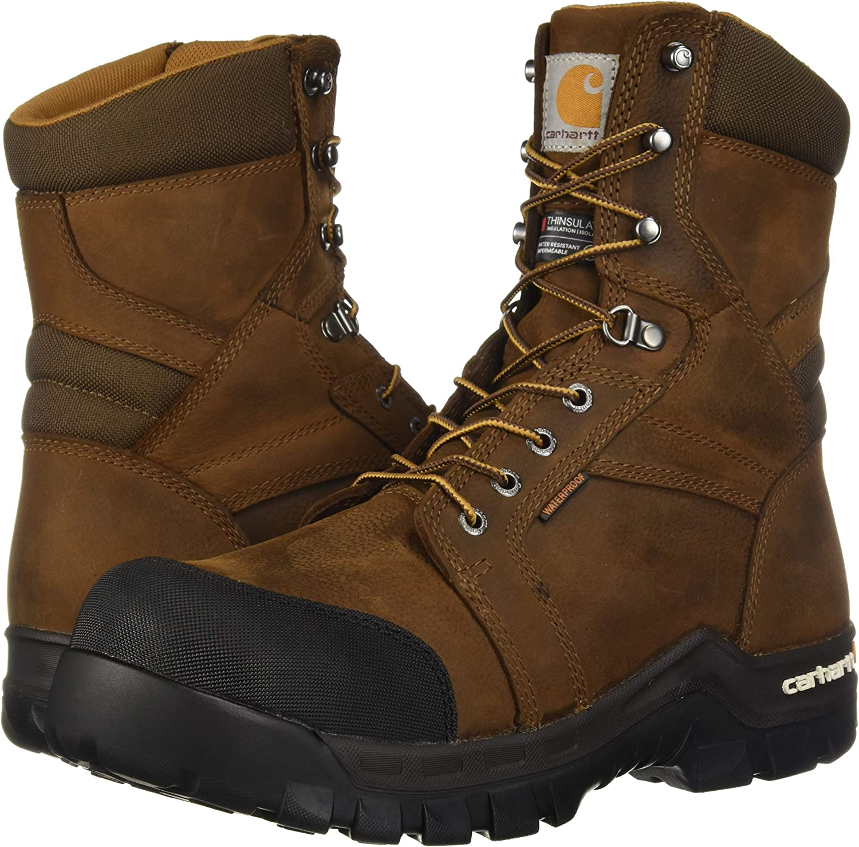Carhartt Mens CSA 8-inch Rugged Flex Wtrprf Insulated Work Boot Comp Safety Toe Cmr8939 Industrial