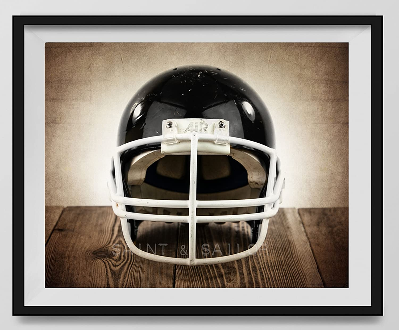 Vintage Black Industry No. 1 Luxury Football Helmet on Background Facing Fine