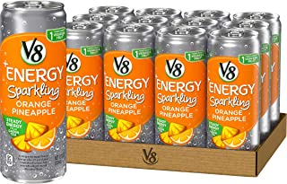 V8 +Energy, Sparkling Juice Drink with Green Tea, Orange Pineapple, 12 Fl Oz (Pack of 12)