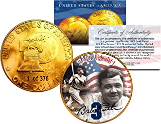 1976 BABE RUTH 24K Gold Plated IKE Dollar *Each Coin Serial Numbered of 376*