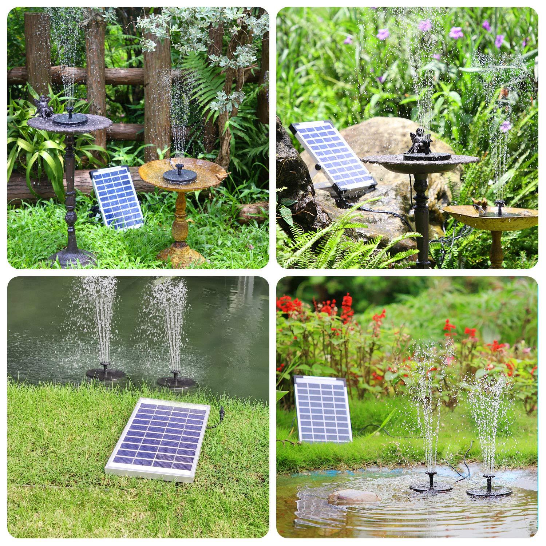 AISITIN Solar Fuente Bomba, 5.5W 2* Bomba, Fuente de Jardín Solar, Batería Incorporada con 6 Boquillas y Tabla Flotante para Pequeño Estanque, Baño de Aves, Fish Tank y Decoración del Jardín: Amazon.es: