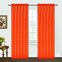 Editex Home Textiles Monique Sheer Window Panel, Neon Orange, 55 by 95-Inch