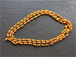 IndianStore4All 3mm Approx Rudrani Japa Mala 108+1 Beads Mala Gold Cap Necklaces