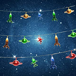 Outer Space String Light LED Children's Room LED String Light Astronaut Spaceship Rocket Pendants Holiday Party Lights Wal...