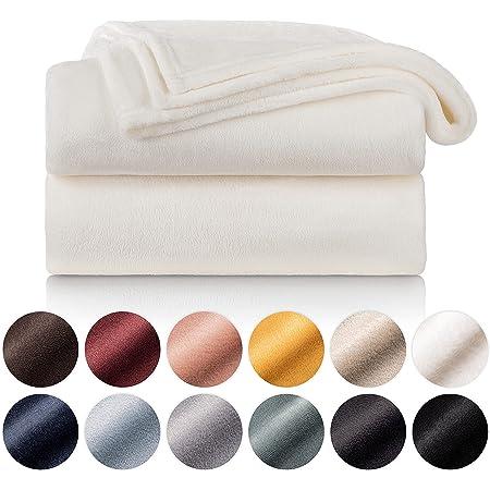 Blumtal - Couverture Polaire 220 x 240 - Plaid Blanc - Plaid pour Canapé - Plaid Cocooning - Couverture Polaire Epaisse, Moelleuse, Douce Et Chaude - Haute Qualité
