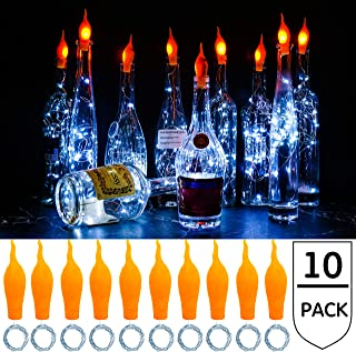 StarryMine Wine Bottle Lights with Cork String Lights Candle Flame Shaped, 20 LED 10 Pack Silver Copper Wire Fairy Mini String Light (Cool White)