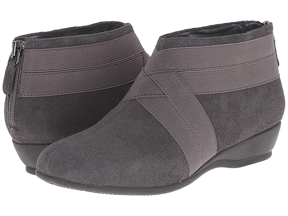 Trotters Latch (Dark Grey Cow Suede Leather/Elastic) Women