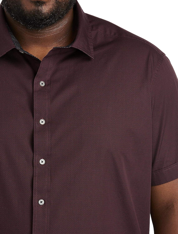 DXL Twenty-Eight Degrees Big and Tall Geo Print Sport Shirt, Wine