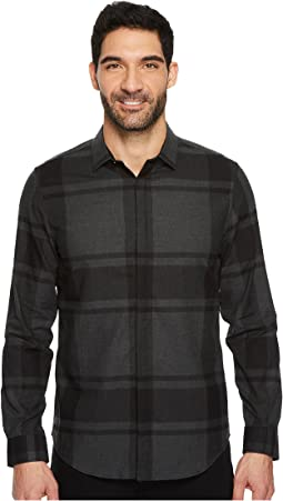 Calvin Klein - Large Heather Crosshatch Plaid Button Down Shirt