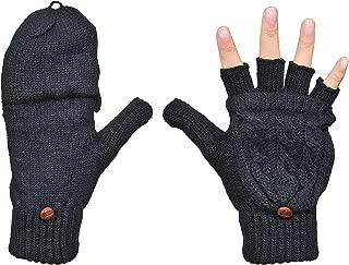 Women's Winter Gloves Warm Wool Knitted Convertible Fingerless Mittens