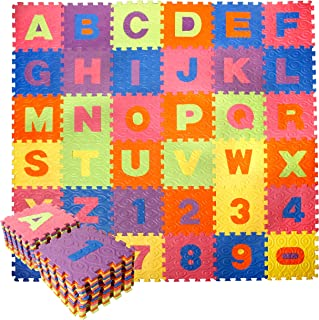 CCLIFE Tapis de Puzzle en Mousse, 18/36 pcs EVA Multicolore, Non Toxique, Imperméable et à Emboîtement Tapis de Jeu Puzzle...