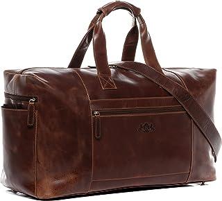 SID & VAIN Reisetasche echt Leder Bristol XL groß Sporttasche Weekender Ledertasche Unisex 50 cm braun