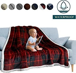 PAVILIA Waterproof Blanket | Water Resistant, Pee Proof Couch Sofa Bed Protector Cover for Baby, Elders | Premium Soft Plush Sherpa Fleece Throw and Blanket 60x80 Inches, Plaid Red
