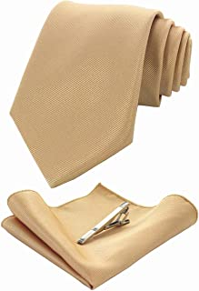 RBOCOTT Solid Color Tie and Pocket Square, Tie Clip Set for Men