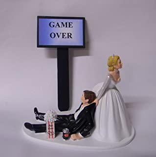 Wedding Reception Party Popcorn Soda Game Over Sign Nerd Cake Topper