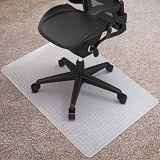 """Kuyal Carpet Chair Mat, 48"""" x 36"""" PVC Home Office Desk Chair Mat for Floor Protection, Clear, Studded, BPA Free Matte Anti-Slip (36"""" X 48"""" Rectangle for Carpet)"""