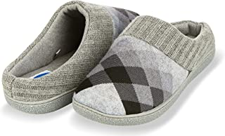 Floopi House Slippers for Women  Argyle Knit/Terry Lined & Ribbed Hand-Knit Collar Clog   Hard Rubber Sole for Indoor/Outdoor Use  All-Season Bedroom Slip-on W/Memory Foam Insole