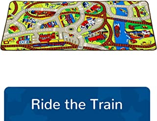 """Learning Carpets Ride the Train Play Carpet, 79"""" by 36"""" –Themed Carpet Develops Imagination – Skid-Proof Gel Backing – Durable - Self-Contained Play Mat for Hours of Fun – Indoor/Outdoor Use"""