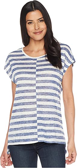 TWO by Vince Camuto Extended Shoulder Stripe Slub Tee