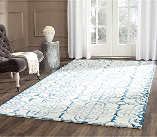 Safavieh Dip Dye Collection DDY711H Handmade Moroccan Geometric Watercolor Ivory and Turquoise Wool Area Rug (5' x 8')