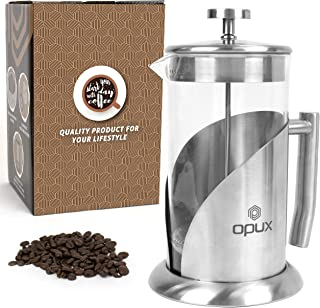 OPUX Insulated French Press Coffee Maker | Stainless Steel 4 Cup Coffee Press Pot with 4 Layer Filters for Pour Over Brewing | 34 fl oz Borosilicate Glass (Clear)