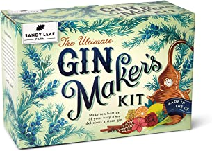 Sandy Leaf Farm Ultimate Gin Maker's Kit - Make Ten Big Bottles of Your own Gin - Flavours Including Classic Citrus, Choco...