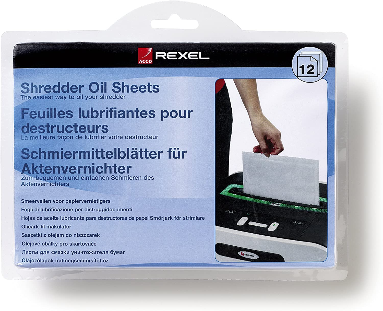 Rexel 2101948 - Pack de 12 láminas lubricantes para destructora de papel, tamaño A5