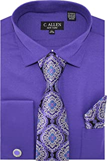 Men`s Solid Micro Pattern Regular Fit Dress Shirts with Tie Hanky Cufflinks Combo French Cuffs