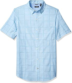 IZOD Men's Saltwater Short Sleeve Windowpane Button Down Shirt