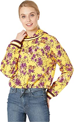 Etched Floral Cinched Pullover with Hood