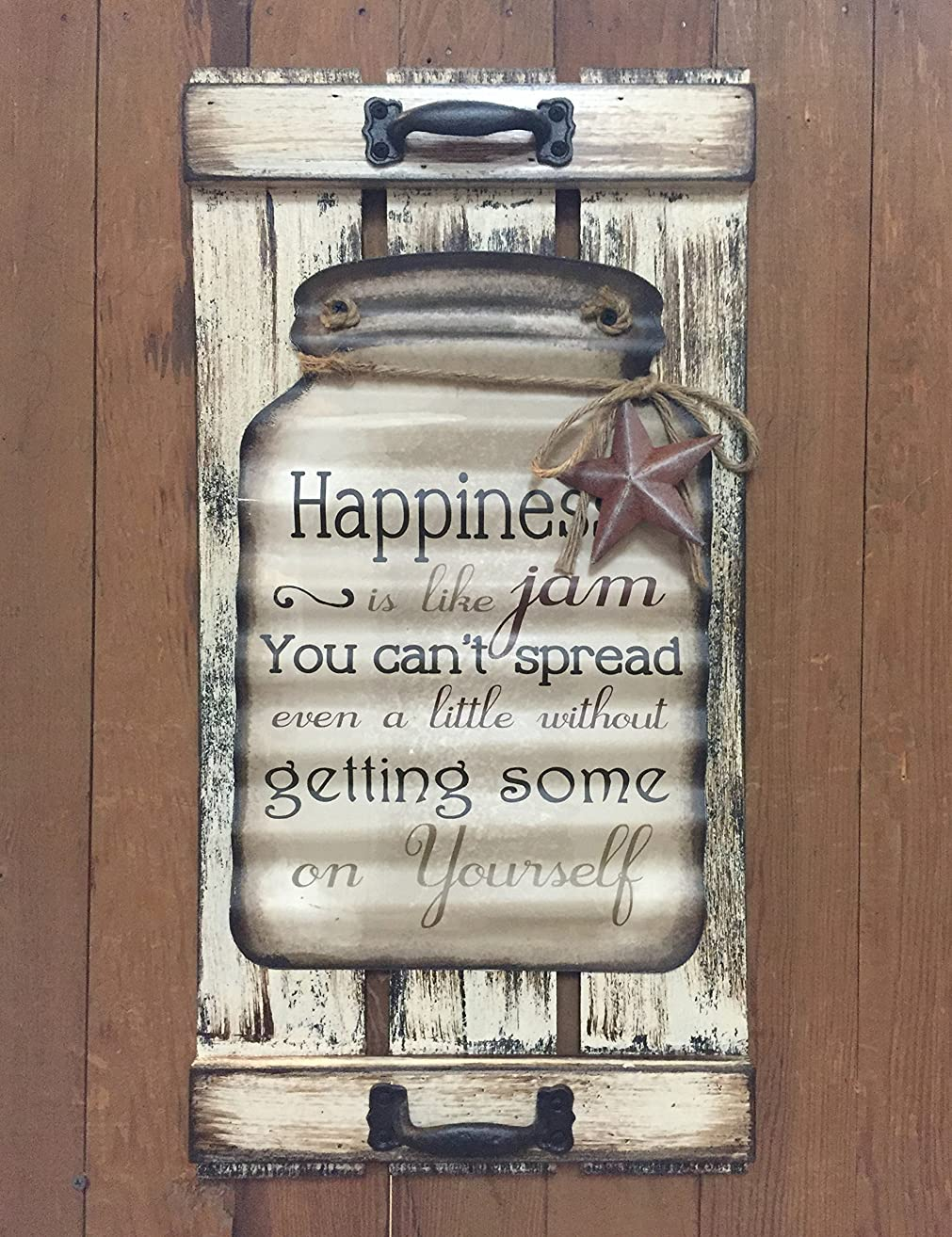 Mason Canning Jar Shutter HAPPINESS is like jam, you can't spread even a little without getting some on yourself. SIGN Distressed Wood Rustic Country Kitchen Tin Wall Decor