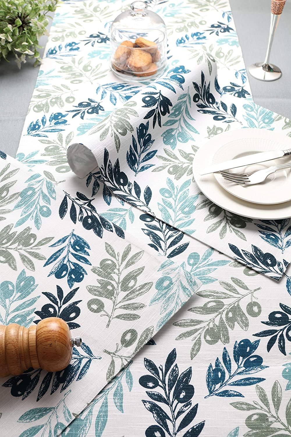 -Blue Leaves Penguin Home 100/% Cotton Printed Placemats 33 x 46 cm Set of 4