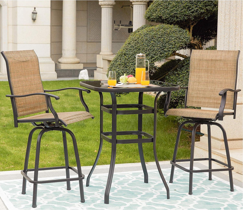 LOKATSE HOME 100 Pcs Patio Bar High Swivel Stools Set, 100 Tall Chairs and 10  Height Outdoor Bistro Table, Khaki