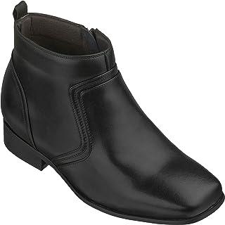 أحذية CALTO الرجالية غير المرئية لزيادة الارتفاع - أحذية طويلة حتى الكاحل بسحاب من الجلد الأسود - بطول 3.2 بوصة - G99809