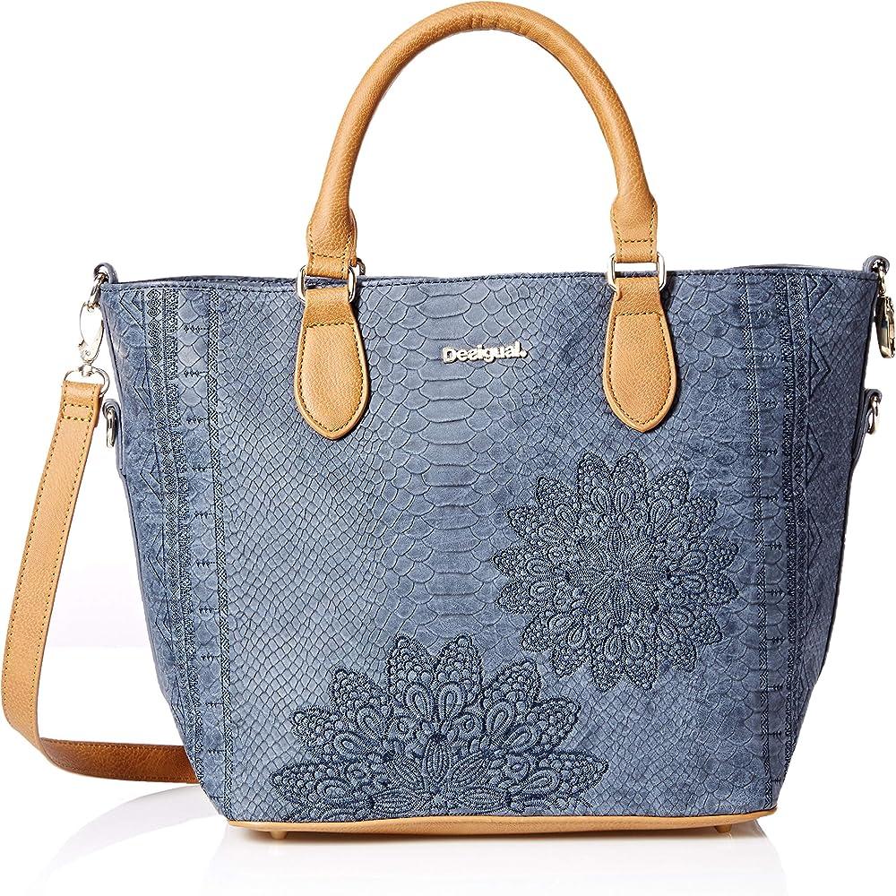 Desigual, borsa da donna a mano/tracolla in pique` plastificato 18WAXPC45000U
