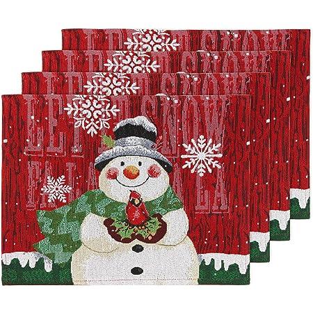 Snowman Christmas Winter Black Homespun Table Runner