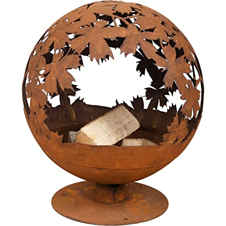 58x58x66 Cm Esschert Rust Finish Fireball Brown Metal Campfire Fire Pit Amazon De Garten