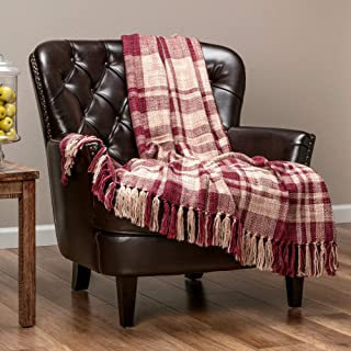 Chanasya Farmhouse Pattern Plaid Throw Blanket Lightweight Knit Textured Woven Decorative Blanket for Sofa Couch Bed Living Room Blanket with Tassels Fringed Throw Blanket (50