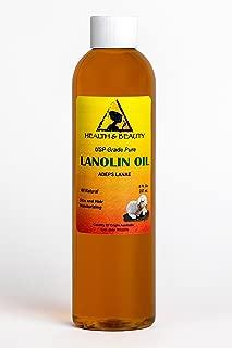 Lanolin Oil USP Grade by H&B OILS CENTER Premium Quality Skin Hair Lip Moisturizing 100% Pure 8 oz