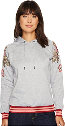 Hooded Sweater with Embroidered Patch on Shoulders