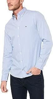 TOMMY HILFIGER Men's Pinstripe Pure Cotton Shirt, Regatta/Bright White