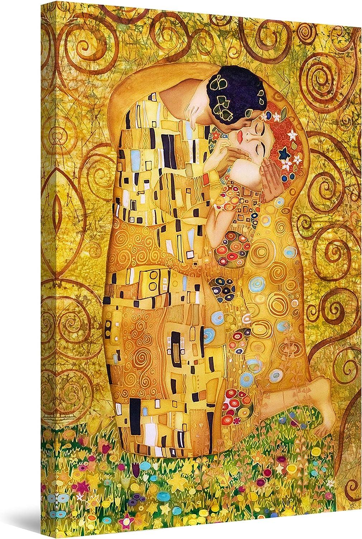 Startonight Cuadro Moderno en Lienzo Pintura Árbol de la Vida, Beso Klimt, Decoración de la Pared Enmarcada para Salon, Grande 80 x 120 cm