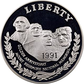 1991 S Mount Rushmore Silver Proof Dollar Golden Anniversary