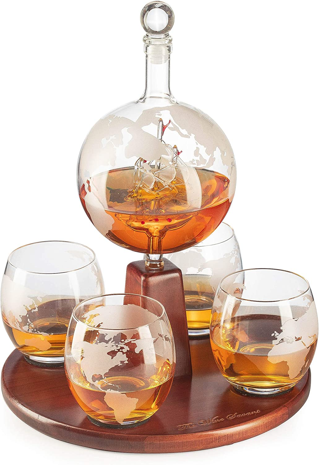 Etched World Decanter Globe Decanter, with Antique Ship and 4 World Map Glasses by The Wine Savant, Great Gifts for Dad, Boyfriend or Anyone