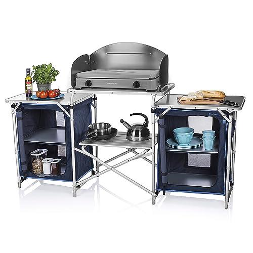 Cuisine de camping Campart - Compartiments et desserte - Pare-vent de cuisson