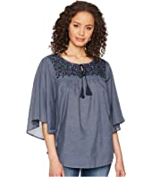 ROMEO & JULIET COUTURE Butterfly Sleeve and Embroidered Detail Top