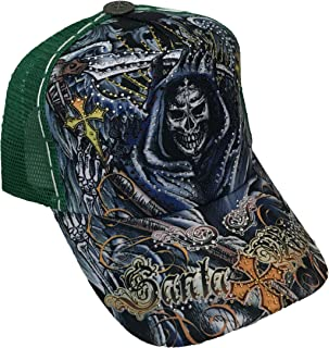 Tattoo Santa Muerte Skull Rhinestone Trucker Mesh Fashion Ball Snapback Cap Hat