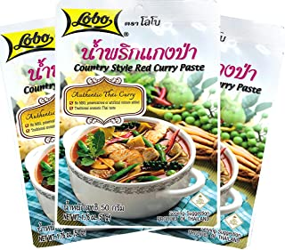 Lobo Country Style Red Curry Paste (Jungle Curry) 1.76 Ounce, Product of Thailand, Pack of 3