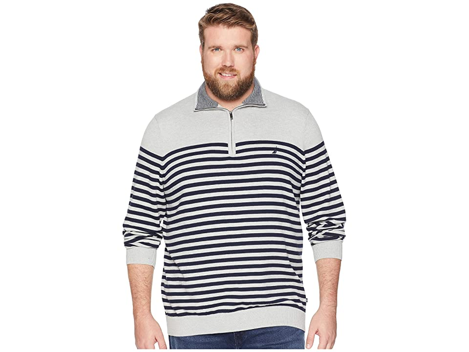 Nautica Big & Tall Big Tall 1/2 Zip Mock Pullover (Grey Heather) Men